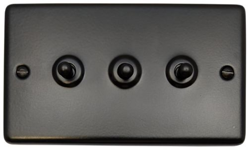G&H CFB283 Standard Plate Matt Black 3 Gang 1 or 2 Way Toggle Light Switch